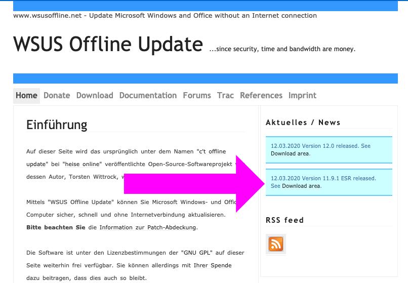 WSUS Offline Update ダウンロード
