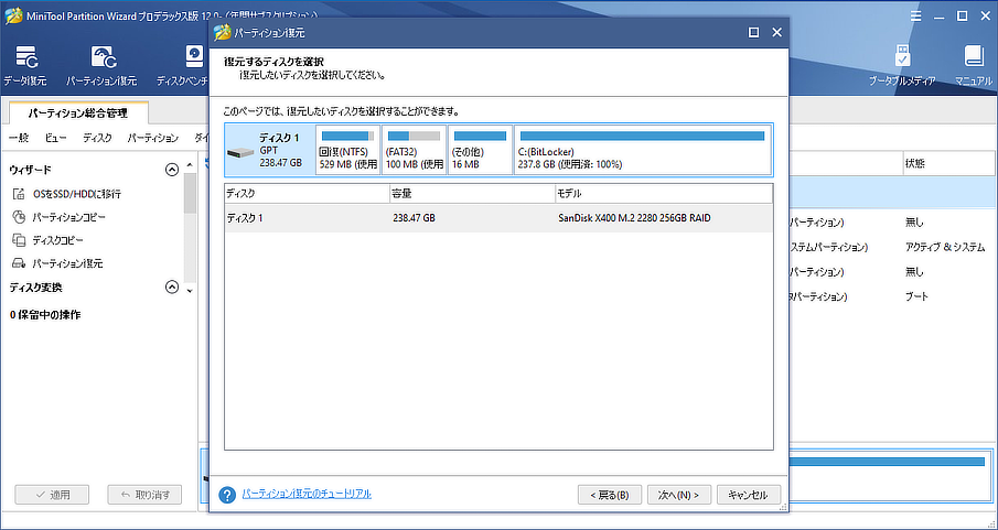 MiniTool Partition Wizard 12 復元
